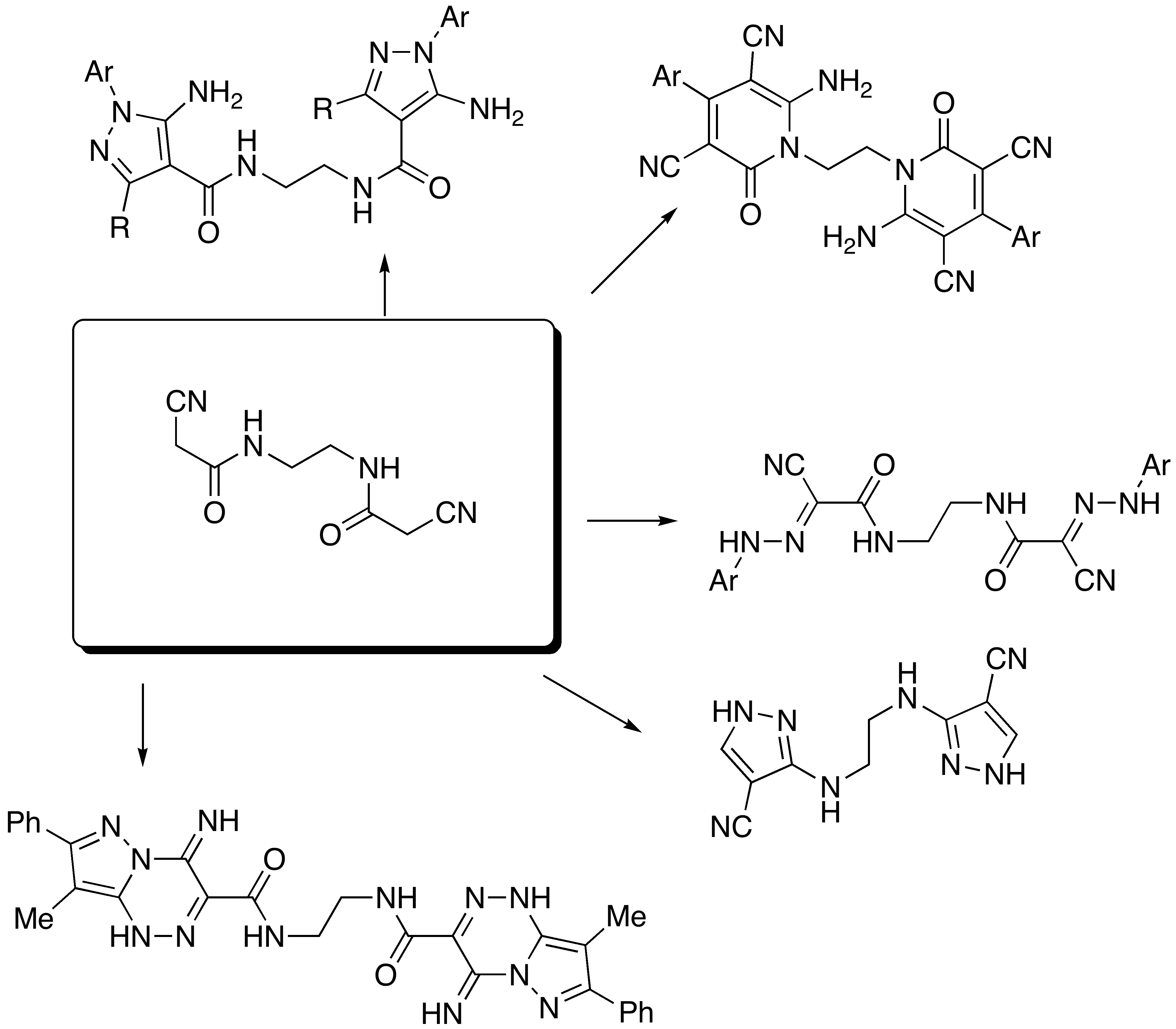 heterocycles as triazine derivatives Reactions with heterocyclic diazonium salts, ii synthesis of some  cyclised  into the pyrazolo[l,5-c]-as-triazine derivative (4a) upon treatment with concen.